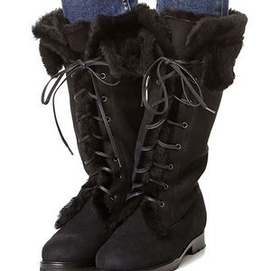 Sarah Flint Cortina Suede Fur-lined tie up boots